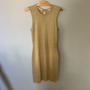 Ann Taylor Gold Dress with Cardigan